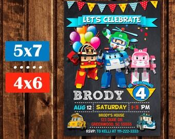 Robocar Poli Invitations, Robocar Poli Digital Party Invitation, Robocar Poli Printables, Robocar Poli Birthday Invitation.