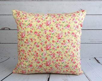 Yellow floral cushion cover with pink roses, yellow polka dot cotton pillow cover, shabby chic 16 inch square lined pillow cover