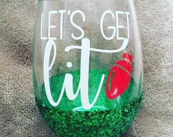 Christmas wine glasses LETS GET LIT!