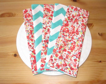 Pink Floral Cloth Napkins (Set of 5) | Blue Chevron Napkins, Lunchbox Napkins, Ecofriendly Gifts, Cloth Napkins, Reversible Napkins
