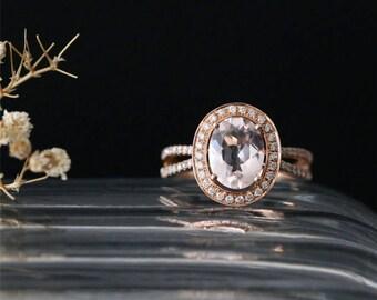 Natural 9*7mm Oval Cut Morganite Engagement Ring Diamonds Halo Ring Stackable Bridal Ring 14K Rose Gold Anniversary Ring Gemstone Ring