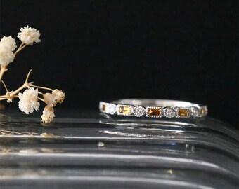 14K White Gold Yellow Citrine Wedding Ring Milgrain Bezel Bridal Ring Citrine Ring Nov Birthston Ring Gemstone Engagement Ring Diamond Band