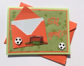 Greeting card with gift card holder - Set goals!