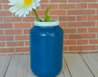 Small Blue Hand Painted Flower Vase made from Recycled Glass Jar