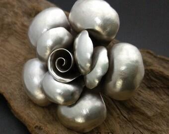 Rose Silver Pendant,Plain Rose Silver Charm, Handmade Flower Pendants,approx:60x62.5 mm.dia,1 pcs