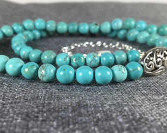 Turquoise Bead Necklace with Filigree Accent