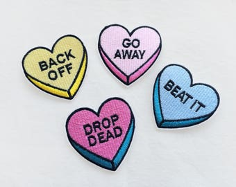 1x message heart tag PATCH - pink yellow blue pills pastel drawing pop art  backpack shirt - Iron On Embroidered Applique