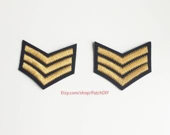 2x gold emblem braid military stripe aviation tag grade custom Iron On Embroidered Patches Applique black pilot aviator plane