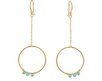 Earring - Blue - Brass, Natural Stone - Elegant - Anniversary