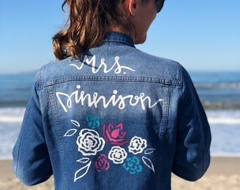 Personalized  floral Jeans Jacket