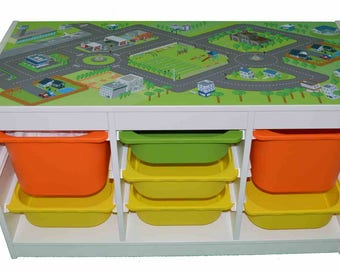 Car city play mat  – Kids room furniture sticker – Ikea hack Trofast road map sticker for play tables. - Furniture not included.