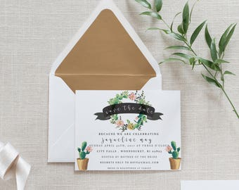 Printable 5 x 7 Succulent bridal shower invitation, save the date, cacti wedding, succulent bridal shower, JPED PDF download, customize