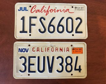 Two Vintage California License Plates