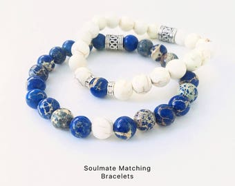 You + Me = Soulmates Bracelets-Twin Flames Bracelets-Couples Bracelets-Lovers Bracelets-Matching 8 mm Blue Sea Sediment Jasper Bracelets
