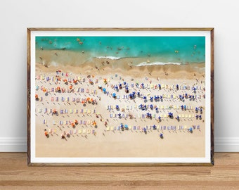 Aerial Beach Photography, People on Beach Print, Beach Art, People Crowd Beach Print Instant Printable Poster Digital Print Digital Download