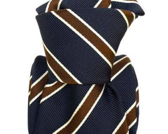 Navy and Brown Striped Tie, Italian Tie, Navy Silk Tie