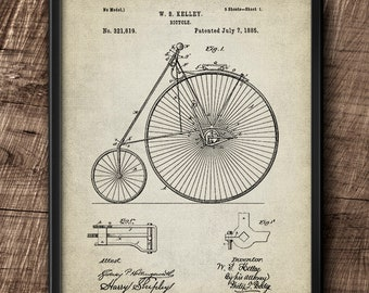 Bicycle · 1885 · Patent · Vintage · Printable· Instant Download #198