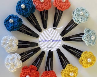 Nr. 2 Hair flower pegs worked in crochet
