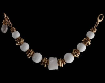 White Agate and Rose Bronze Statement Bracelet
