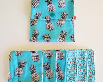"""Wipes cleansing washable tencel micro-eponge bio """"pineapple blue and gray"""" + pouch"""