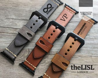 Apple Watch band, Apple Watch Strap 38 / 42 mm Genuine Leather Vintage Classic Elegant Strap for Women and Men Engraving Leather Watch Band