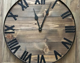 "20"" Rustic Home Decor, Wall Clock, Rustic Clock, Rustic Wall Decor, Wood Wall Art, Living Room Decor, Farmhouse Clock, Farmhouse Home Decor"