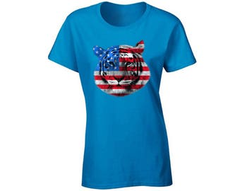 USA Flag Tiger T shirt Top Shirt Independence Day Gift 4th of July Tiger Patriotic