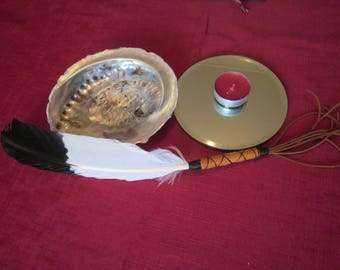 Black Tip Eagle Imitation Smudging Feather, ritual cleansing by Aponi