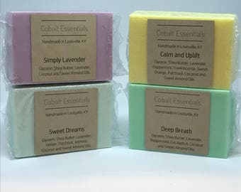 Sampler - Calming Essential Oil Soaps (Full Size) - Hydrating Soap - Essential Oil Soap - Handmade Soap - Shea Butter Soap - Natural Soap