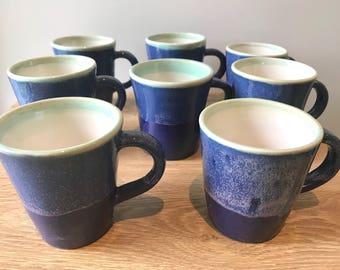 Set of 4   Wheel thrown ceramic stoneware mug   FREE SHIPPING