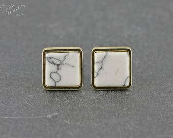 Ear plug * white marble * square * gilt * stud earring * square * gold plated