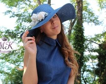 Sun Hat, Flower Decoration, Blue Hat, Beije Flowers