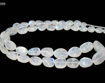 AAA Quality Natural Rainbow Moonstone Smooth Nugget Beads / 5.5-11.5 mm / 16 inch / Far Size