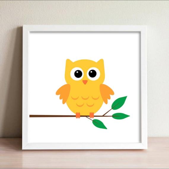 baby owl, wall print, baby room, nursery wall art, minimalistic ...