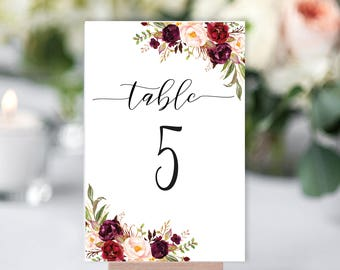 Table Numbers Printable, Floral Wedding Table Numbers Template, Marsala Wedding Table Numbers, Number 1-30, Table Numbers Seating Template