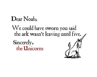 T-SHIRT: Noah And The Unicorns - Classic T-Shirt & Ladies Fitted Tee - (LazyCarrot)