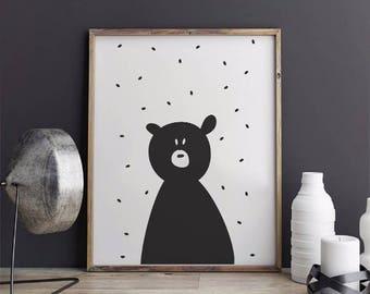 Cute Bear Printable, Nursery Wall Art, Typography Print, Cute Bear Nursery,  Printable Instant Download