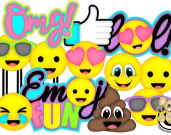 Emoji Collection, vector graphics, digital clipart, digital images, scrapbooking, instant download