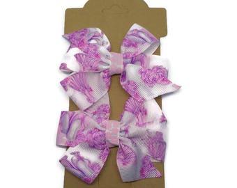 Ballet Hair Clips ~ Ballerina Hair Bow ~ Set of 2 Ballet Pinwheel Bows ~ Pink and White Hair Bows ~ Ballet Gift ~ Dance Hair accessories