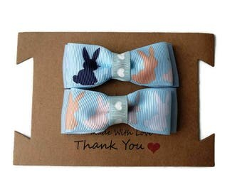 Bunny hair clips - Set of 2 Handmade rabbit hair bows - baby blue hair bows with rabbits - Fringe clips - Easter bunny hair bows on clips