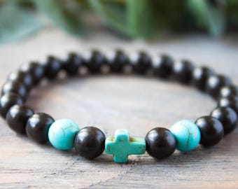 First Communion Bracelet Christian Cross Boyfriend Bracelet  Black Blue Matching Turquoise Long Distance Relationship Bracelet His and Hers