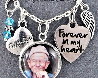 Grandpa Memorial Keepsake Photo Charm Necklace, Personalized Birthstone, Angel Wing, Grief, Remembrance Sympathy Gift, Forever In My Heart