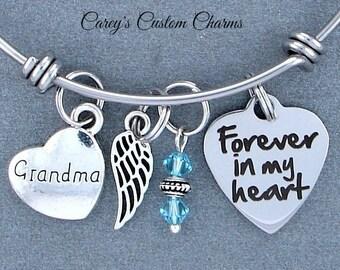 Grandma Memorial Keepsake Charm Bracelet, Swarovski Birthstone, Sympathy Gift, Forever In My Heart, Angel Wing, Stainless Steel, Grandmother