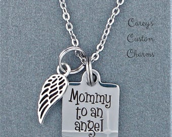 Mommy To An Angel Memorial Charm Necklace, Sympathy Jewelry Gift For Mother Mom, Loss of Child Infant, Miscarriage, Baby, Daughter Son
