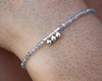 Labradorite Bracelet-Silver Beaded Bracelet-Labradorite Beaded Bracelet-Genuine Grey Labradorite-Minimal Bracelet-Karen Silver Beads