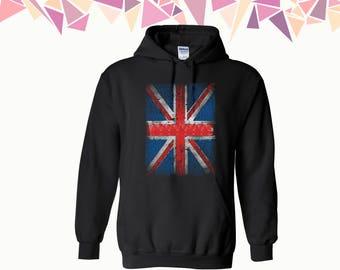 Distressed British Flag Hooded Sweatshirt Union Jack Hoodie British Flag Sweater Union Jack Hoodie Sweatshirt Sweater Hooded Sweatshirt