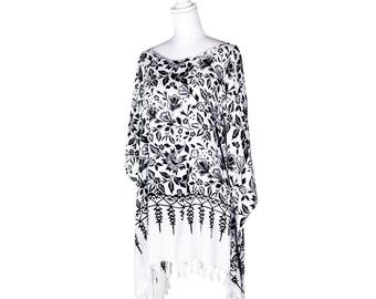 Lotus  Print Beach Tunic Poncho Cover-Up