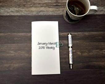 Travelers Notebook Insert - Week On One Page - 2018 Dated First Quarter - Planning Insert - Monday Start - Sunday Start - Midori Refill