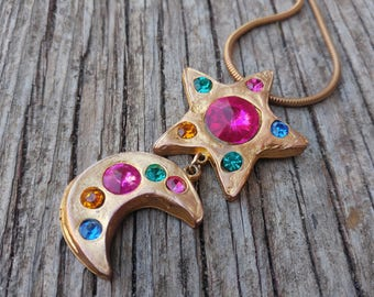 Don-Lin Star & Moon Pendant Necklace // Mystical Boho Gold Vibrant Jewel Necklace