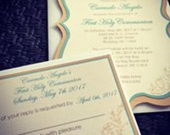 Double layered Communion Invite with matching RSVP card